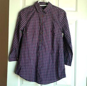 Lands' End Purple & blue plaid tunic dress